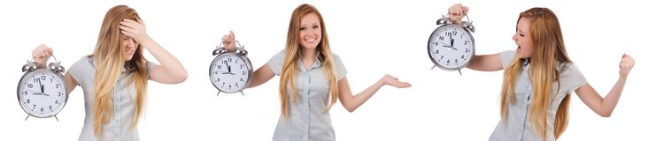 The young woman with clock on white royalty free stock images
