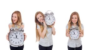 The young woman with clock on white royalty free stock photos