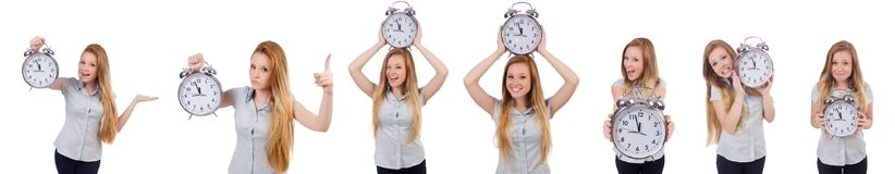 The young woman with clock on white royalty free stock photo