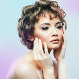 Young woman close up face beauty portrait.Short Hair style. Fem stock photo