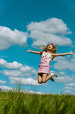Young woman close-up jumping Royalty Free Stock Photography