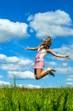 Young woman close-up jumping Royalty Free Stock Images
