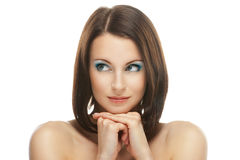 Young woman close-up looks askance Royalty Free Stock Photo