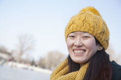 Young Woman Close Up Outside in Winter Stock Photo