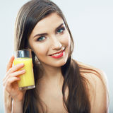 Young woman close up portrait drink juice Stock Photo