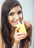 Young woman close up portrait drink juice Royalty Free Stock Photo