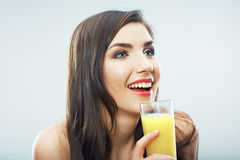 Young woman close up portrait drink juice Stock Photos