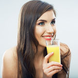 Young woman close up portrait drink juice Royalty Free Stock Image