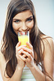 Young woman close up portrait drink juice Royalty Free Stock Photography