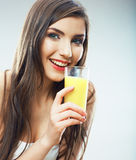 Young woman close up portrait drink juice Stock Image