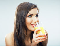 Young woman close up portrait drink juice Stock Images