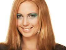 Young woman close up portrait. Multicolored creativity make-up. Close-up portrait of young beautiful woman Stock Images