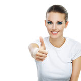 Young woman close-up raises thumbs Royalty Free Stock Photos