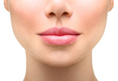 Young woman close up. plump lips stock images