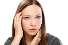 Young woman close up studio portrait Stock Images