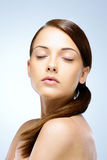 Young woman with closed eyes. Portrait of a beautiful young woman with closed eyes Royalty Free Stock Image