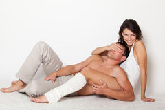 Young woman closing eyes to boyfriend Royalty Free Stock Photos