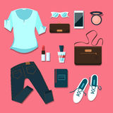 Young woman clothes and accessories outfit Royalty Free Stock Photos