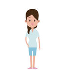Young woman clothes casual tail hair Stock Photography