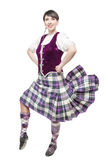 Young woman in clothing for Scottish dance Stock Photo