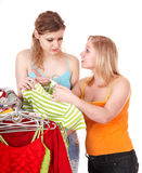 Young woman in clothing shop Royalty Free Stock Photos