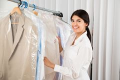 Young woman in clothing store Royalty Free Stock Image