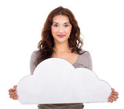 Young woman cloud Stock Photography