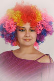 Young woman clown. Portrait of smiling female clown Royalty Free Stock Photos