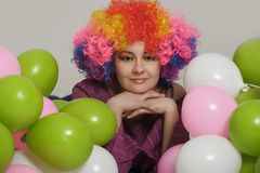 Young woman clown. Portrait of smiling female clown Royalty Free Stock Photo