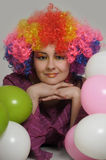 Young woman clown. Portrait of smiling female clown Stock Images