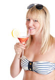 Young woman with cocktail. Pretty young blond woman with cocktail stock images