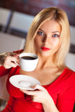 Young woman with coffee royalty free stock photos