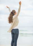 Young woman on cold beach rejoicing success Stock Photography