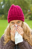 Young woman with a cold Stock Photos