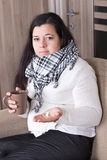 Young woman with cold at home Royalty Free Stock Photos