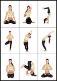 Young woman in a collage with various stretching postures Stock Photo