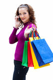 Young woman with color bags Royalty Free Stock Photography