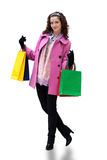 Young woman with color bags Stock Photo