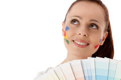 Young woman with a color guide. Stock Photography