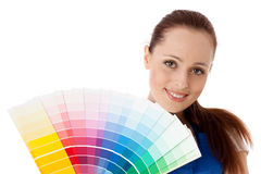 Young woman with a color guide. Stock Photos