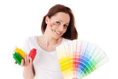 Young woman with a color guide. stock photo
