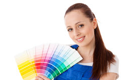 Young woman with a color guide. Royalty Free Stock Photo