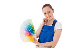 Young woman with a color guide. Stock Image