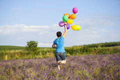 Young woman with colorful ballons on the lavander field Royalty Free Stock Photos