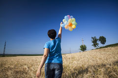 Young woman with colorful balloons in summer field Stock Image