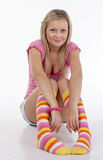 Young woman in the colorful bright socks Stock Photo