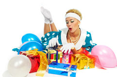 Young woman with colorful gifts Stock Image