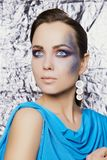 Young woman with colorful make-up Royalty Free Stock Photography