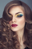 Young woman with colorful make up and perfect skin. In studio photo. Beauty portrait Royalty Free Stock Photography