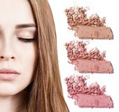 Young woman with colorful samples of eyeshadows. Royalty Free Stock Photo